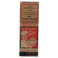1930's Bound Brook Inn NJ New Jersey Diamond Match Matchbook Cover Chef w/ Plate