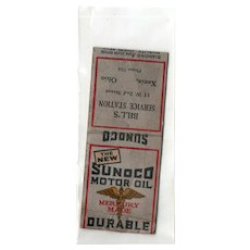 1930's The New Sunoco Motor Oil Bills Service Station Matchbook Cover Xenia OH