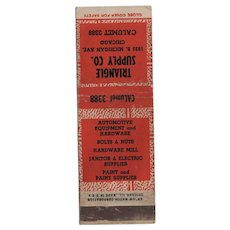 1930s Triangle Supply Co Michigan Ave Chicago IL Matchbook Cover