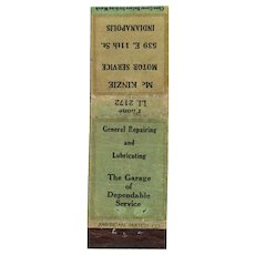 1930s McKenzie Motor Service Indianapolis IN E. 11th St Matchbook Cover