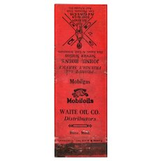1930s Johnie Hoen's Service Station Mobiloils Butte MT Matchbook Cover