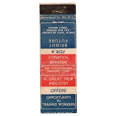 1940s Air Conditioning Training Corp Great New Industry Matchbook Cover