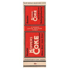 1930s Koppers Chicago Coke Salesman Sample Matchbook Cover