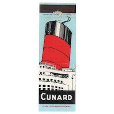 Vintage Cunard Line Cruise Ship Boat Travel Matchbook Cover Europe USA Canada