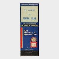 1930's Grenoble Hotels Hotel Weimer Lebanon PA Vintage Matchbook Cover