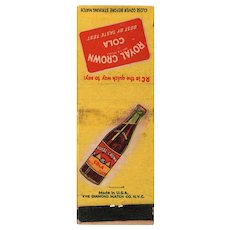 1940's Royal Crown RC Cola Soda Matchbook Cover