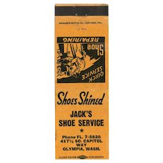 1940's Jack's Shoe Service Olympia WA Matchbook Cover
