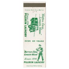 Vintage Pilgrim Laundry Service Brooklyn Queens NY Matchbook Cover