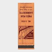 Vintage Pikes Peak Launderette Colorado Springs CO Matchbook Cover