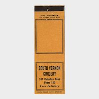 1930's South Vernon Grocery Columbus Road OH Matchbook Cover Mount Vernon