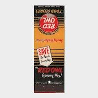 Vintage Red Owl Food Stores Matchbook Cover Matchcover