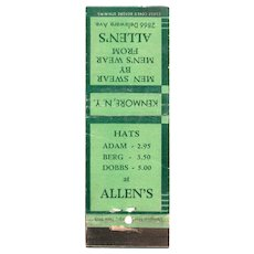 1940's Allen's Men's Wear Kenmore NY Matchbook Cover Matchcover