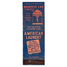 1930's American Laundry Dry Cleaning Green Bay WI Matchbook Cover