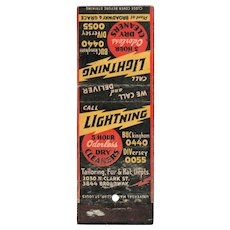 1930's Lightning 5 Hour odorless Dry Cleaners Vintage Matchbook Cover