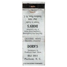 1930's Dorn's Food Store Southern Pines NC Matchbook Cover Matchcover