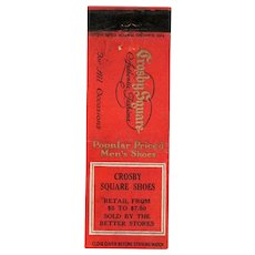 1930's Crosby Square Shoes Sold By Better Stores Matchbook Cover Matchcover