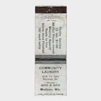 1930's Community Laundry Division St Madison WI Matchbook Cover Matchcover