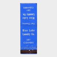 1940's Rice Lake Laundry Co Dry Cleaners Vintage Matchbook Cover
