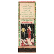 1930's Seasons Greetings Model Laundry Dry Cleaning Tulsa OK Matchbook Cover