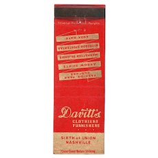 1930's Davitt's Clothiers Furnishers Nashville TN Matchbook Cover