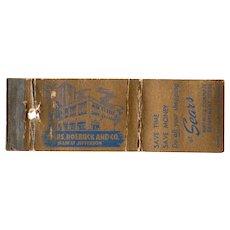 1930's Sears Roebuck & Co Main At Jefferson Buffalo NY Matchbook Cover