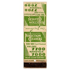 1930's Perfection Cleaners 301 South Boulevard Matchbook Cover