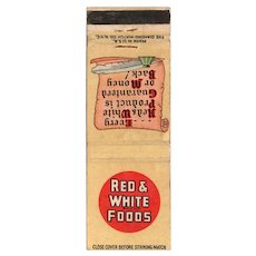 1940's Red & White Foods Matchbook Cover Diamond Match