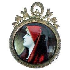 Limoges J.J. Henner Saint Fabiola Enamel on Copper Miniature Portrait Painting