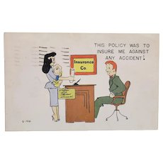 1955 Woman With Baby Accident Insurance Didn't Work Vintage Postcard