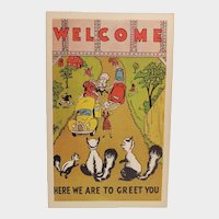 1940's Greetings From The Skunks Vintage Humor Postcard