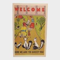 1940's Greetings From The Skunks Vintage Humor Postcard