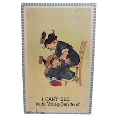 1913 I Can't See What You're Driving At Little Boy Getting A Spanking Vintage Postcard
