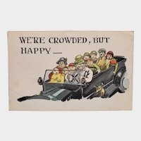 1924 We're Crowded But Happy Large Family In a Car Vintage Humor Postcard