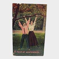 1912 A Pair Of Suspenders People Hanging From Tree Vintage Humor Postcard