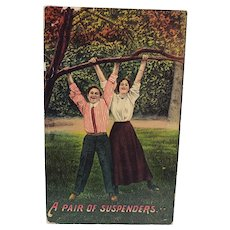 1912 A Pair Of Suspenders People Hanging From Tree Vintage Humor Postcard