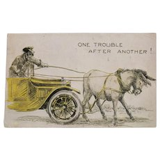 1916 One Trouble After Another Donkey Pulling Car Vintage Postcard