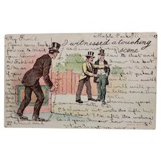 1907 Undivided Back I Witnessed A Touching Scene Vintage Postcard Pickpocket