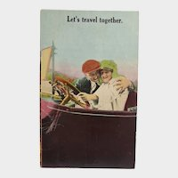 Early 1900's Let's Travel Together Vintage Postcard Man & Woman In Car