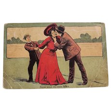 Early 1900's Never Mind The Little Fellow Man Kissing Woman Vintage Postcard