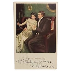 1910 Frederick Stokes Their First Wedding Gift Postcard Well Dressed Man & Woman