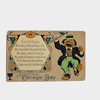 1920's A Toast To Ye College Boy Vintage Humor Postcard