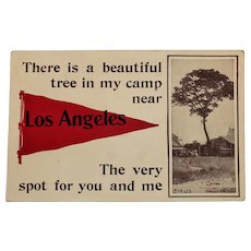 1915 Los Angeles Pennant Flag Vintage Postcard Tree & Cabin Scene