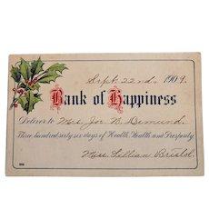 1909 Bank of Happiness Vintage Greeting Postcard