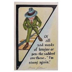 1921 Vintage Postcard Sad Man With Poem