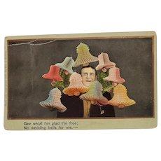 1908 Gee Whiz! I'm Glad I'm Free; No Wedding Bells For Me Vintage Humor Postcard