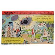 1940's St Petersburg FL Newspaper Sunshine Offer Vintage Linen Postcard
