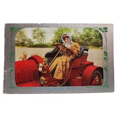 1911 You Auto Be With Me Woman In Car Vintage Humor Postcard