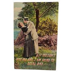 ca 1910 Man Stealing A Kiss Vintage Humor Postcard