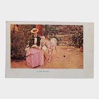 ca 1905 Undivided Back Just Weaned Woman With Baby Donkey Vintage Embossed Postcard