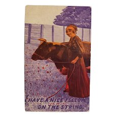 1913 I Have A Nice Fellow On The String Woman With Cow Vintage Humor Postcard